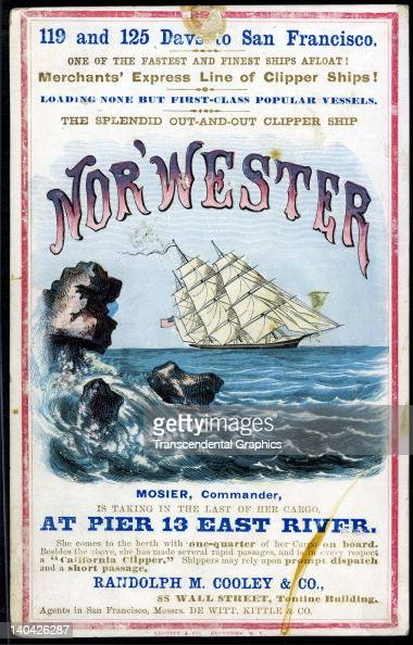 A promotional card for the cllipper ship NorWester sailing for San Francisco and the California gold fields was printed on coated stock by Nesbit...