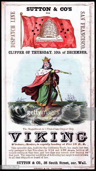 A promotional card for the cllipper ship Viking sailing for San Francisco and the California gold fields was printed on coated stock by Nesbit...