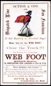 A promotional card for the cllipper ship Web Foot sailing for San Francisco and the California gold fields was printed on coated stock by Nesbit...