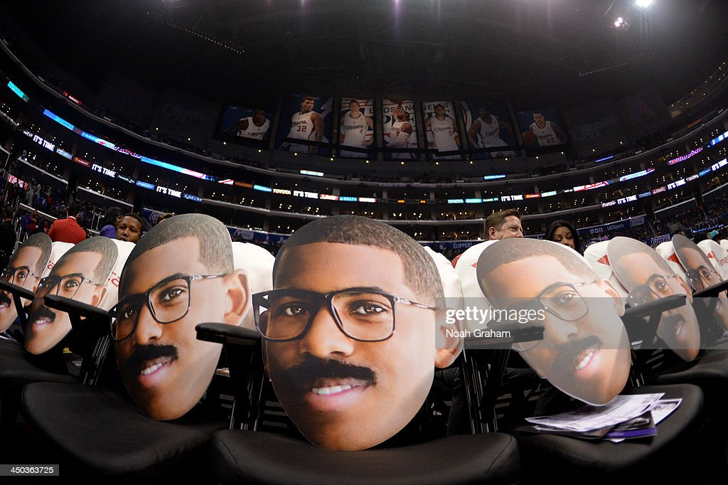 Promotional cut out heads of <a gi-track='captionPersonalityLinkClicked' href=/galleries/search?phrase=Chris+Paul&family=editorial&specificpeople=212762 ng-click='$event.stopPropagation()'>Chris Paul</a> #3 of the Los Angeles Clippers are placed on seats before a game against the Brooklyn Nets on November 16, 2013 at STAPLES Center in Los Angeles, California.