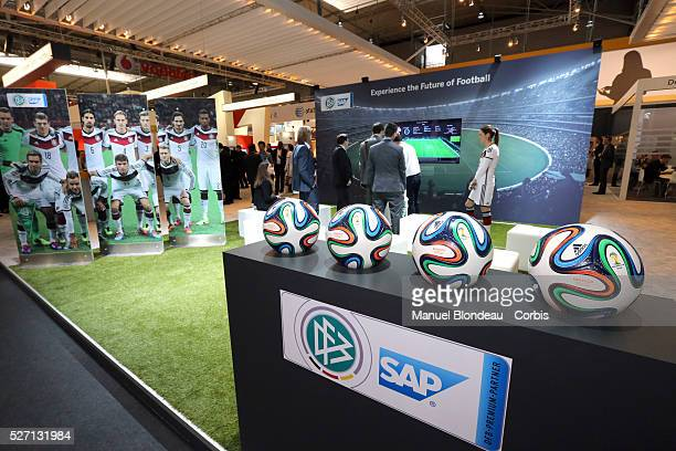 A promotional desk with a display of soccer balls on the SAP AG pavillon SAP is working with the German national football team to prepare for the...