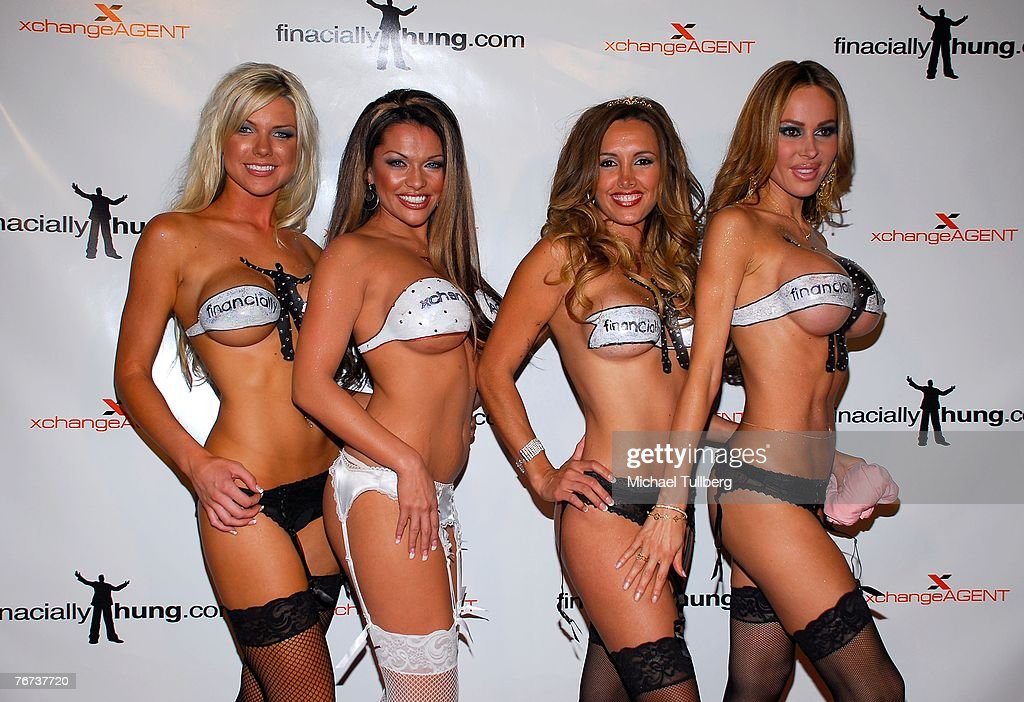 Promotional girls Jessica Michaels, Tiffany DeVito, Angeles Girener and Tabitha Taylor arrive at the Financially Hung's Black Card Launch Party at the Vice nightclub on September 13, 2007 in Los Angeles, California.