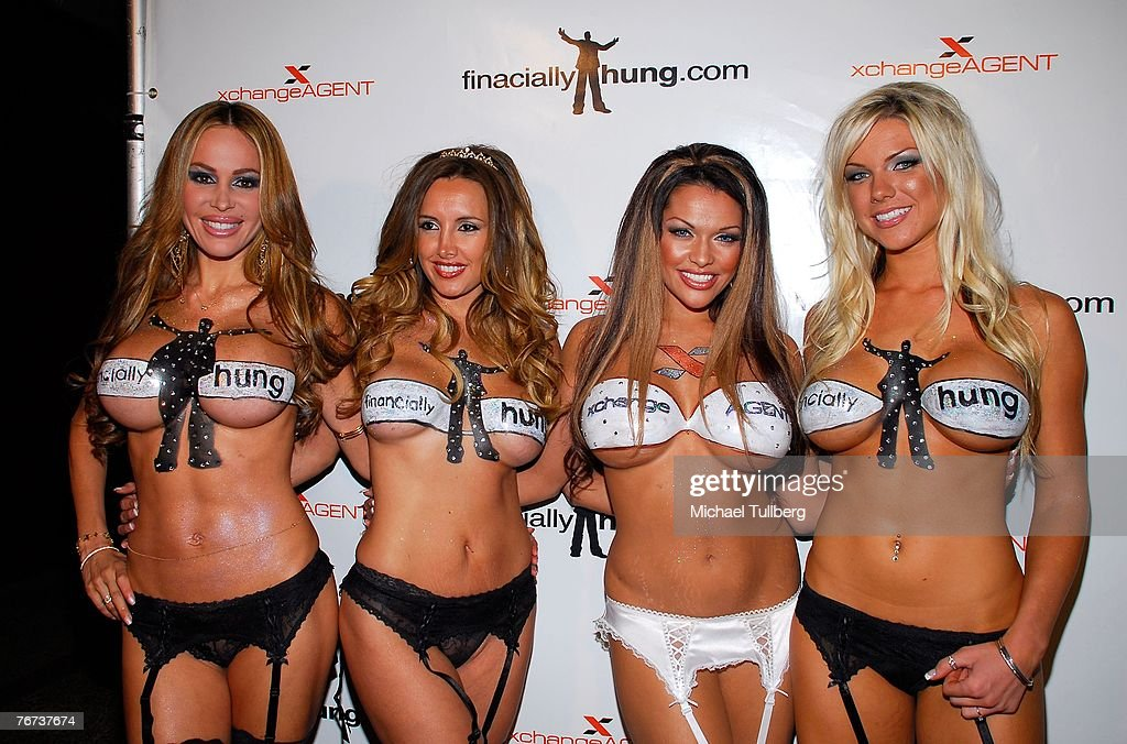Promotional girls Tabitha Taylor, Angeles Girener, Tiffany DeVito and Jessica Michaels arrive at the Financially Hung's Black Card Launch Party at the Vice nightclub on September 13, 2007 in Los Angeles, California.