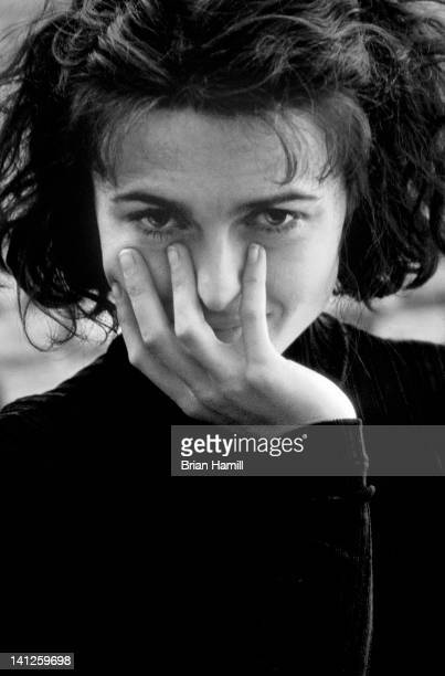 Promotional headshort portrait of British actress Helena Bonham Carter as she holds hee hand over her chin and mouth New York New York 1994 The...