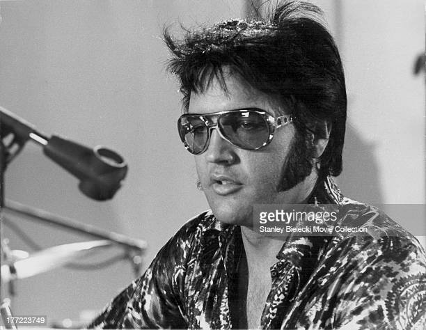 Promotional headshot of actor and musician Elvis Presley as he appears in the documentary film 'Elvis That's The Way It Is' 1970