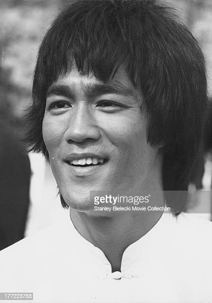 Promotional headshot of actor Bruce Lee as he appears in the movie 'Enter the Dragon' 1973