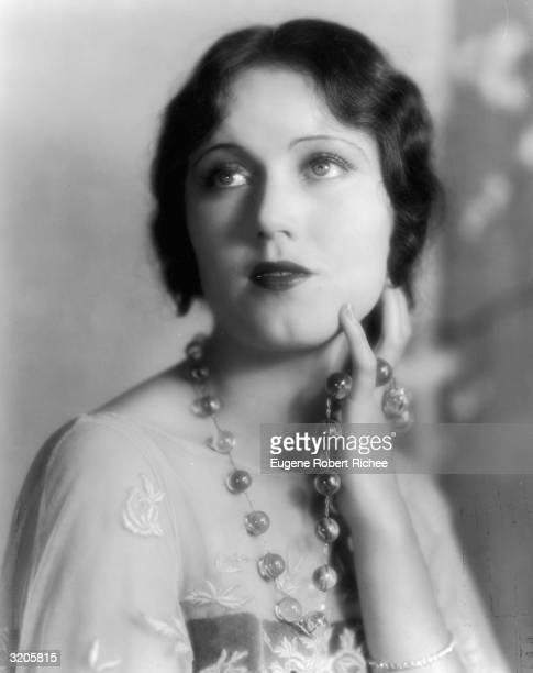 Promotional headshot of Canadianborn actor Fay Wray wearing a beaded necklace late 1920s