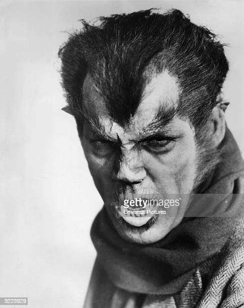 Promotional headshot portrait of actor Henry Hull in costume for the title role in director Stuart Walker's film 'Werewolf of London'