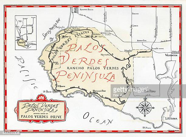 1935 promotional map for the Palos Verdes Peninsula and the city of Palos Verdes Estates incorporated in 1939 in Los Angeles County Masterplanned by...