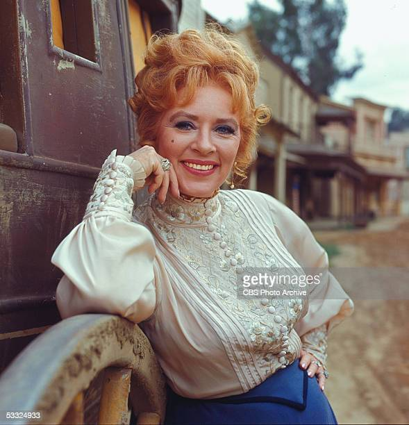 Promotional portrait of America actress Amanda Blake in costume as Kitty Russell on the set of the American television series 'Gunsmoke' 1967 She...
