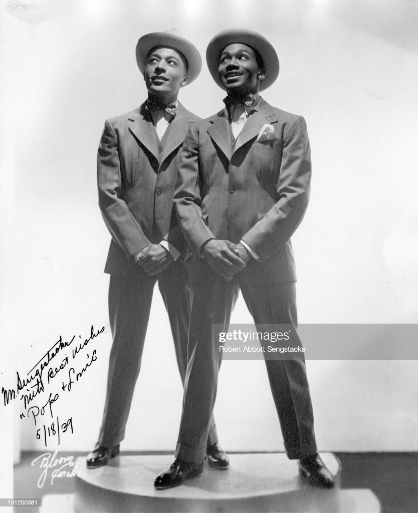 Promotional portrait of American acting and dancing duo Pops Whitman and Louis Williams 1939 The picture is autographed to newspaper publisher John H...