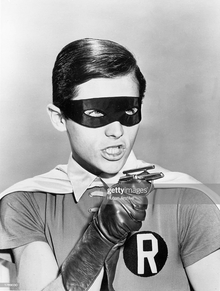 Promotional portrait of American actor Burt Ward in costume as Robin for the television program 'Batman' c 1966