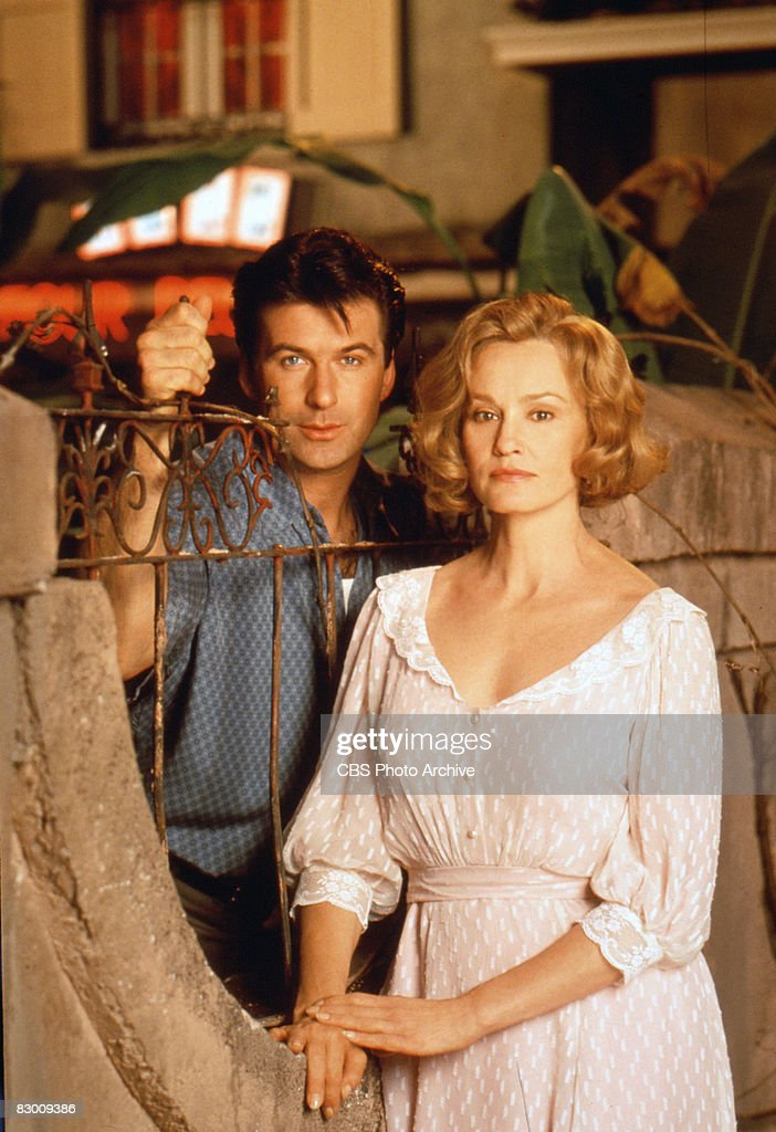 Promotional portrait of American actors Alec Baldwin & Jessica Lange on the set of the television production (directed by Glenn Jordan) of 'A Streetcar Named Desire,' the Pulitzer Prize-wining play by Tennesse Williams, 1995. The film, which was originally broadcast on October 29, 1995, was nominated for a number awards though only Lange received one--a Golden Globe for Best Actress.