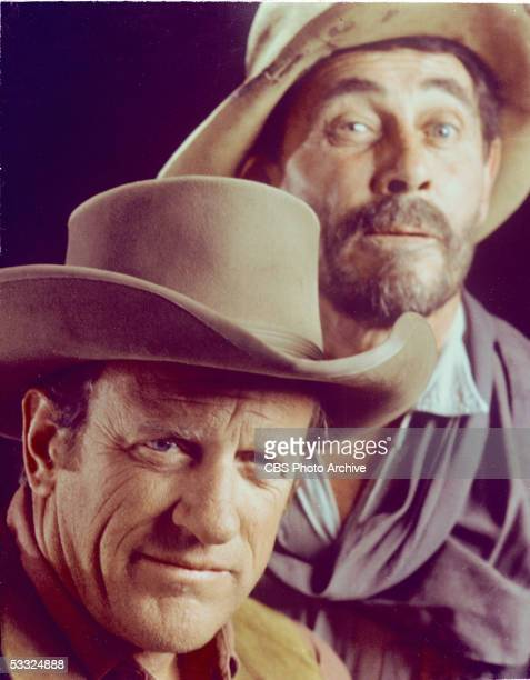 Promotional portrait of American actors James Arness and Ken Curtis from the American television series 'Gunsmoke' July 7 1971