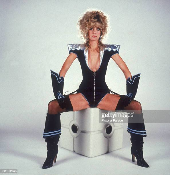 Promotional portrait of American actress Farrah Fawcett in a futuristic costume for the film 'Saturn 3' 1980 The costume was intended for a sequence...