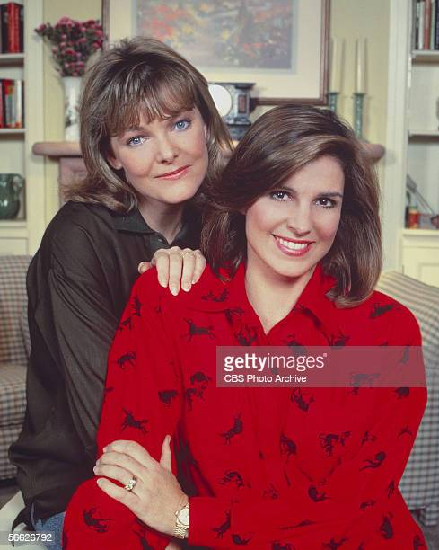 Promotional portrait of American actresses Jane Curtin and Susan Saint James from the CBS television sitcom 'Kate Allie' who pose together in a...