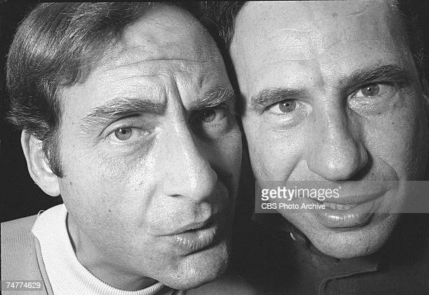 Promotional portrait of American comedians Sid Caesar and Mel Brooks in 'The Sid Caesar Imogene Coca Carl Reiner and Howard Morris Special' which was...