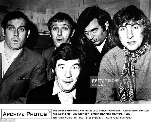 Promotional portrait of the British comedy troupe Monty Python including John Cleese Graham Chapman Michael Palin Terry Jones and Eric Idle on the...