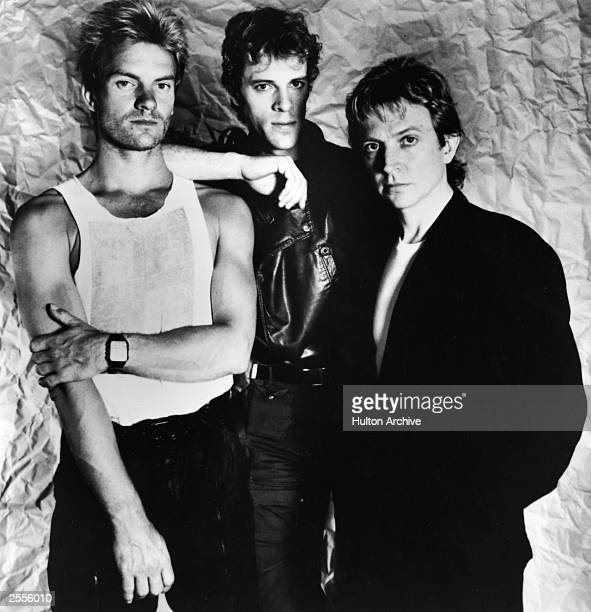 A promotional portrait of the British rock band The police ' Sting Stewart Copeland and Andy Summers circa 1983