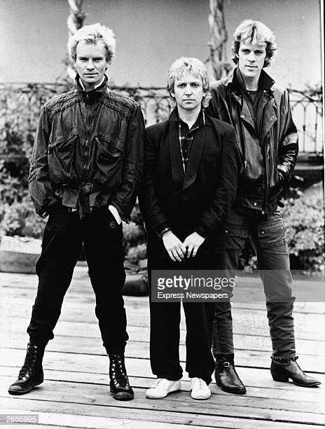 A promotional portrait of the British rock band The Police Sting Andy Summers and Stewart Copeland circa 1980