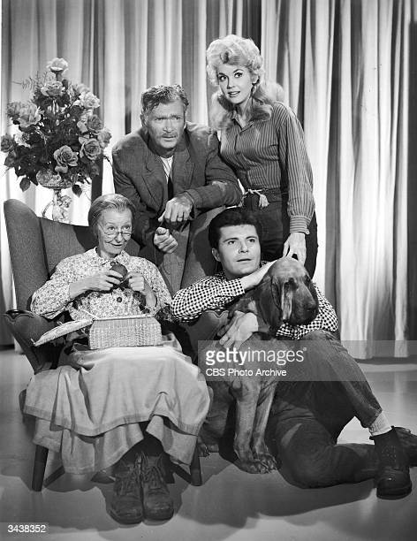 Promotional portrait of the cast of the television series 'The Beverly Hillbillies' Clockwise Irene Ryan Buddy Ebsen Donna Douglas and Max Baer Jr...