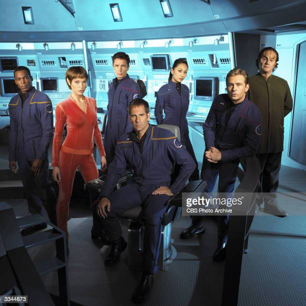 Promotional portrait of the cast of the UPN television series 'Star Trek Enterprise' in costume and on set 2003 LR Anthony Montgomery Jolene Blalock...