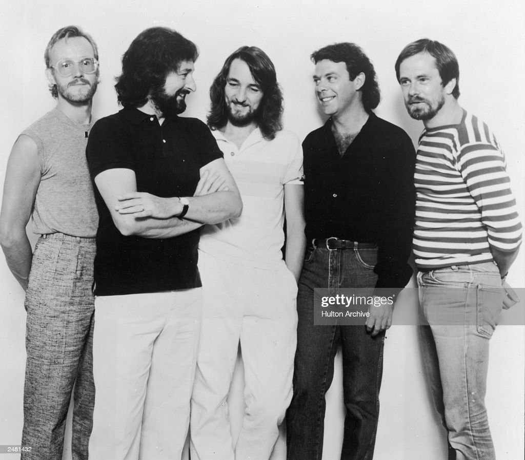 Promotional portrait of the rock band Supertramp, circa 1981. L-R: John Helliwell, Rick Davies, Roger Hodgson, Bob Siebenberg and Dougie Thomson.
