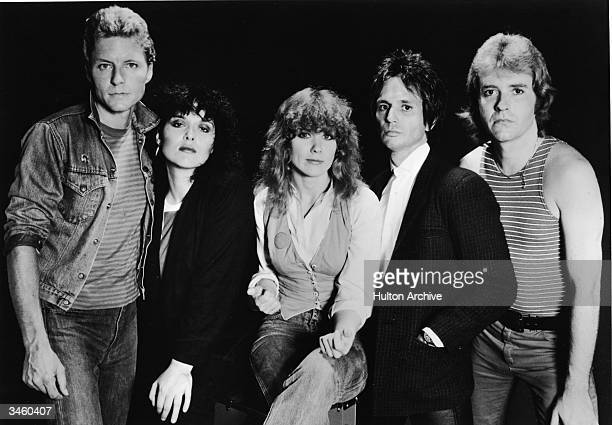 Promotional portrait of the rock group Heart including Mark Andes Ann Wilson Nancy Wilson Denny Carmassi and Howard Lesse circa 1980s