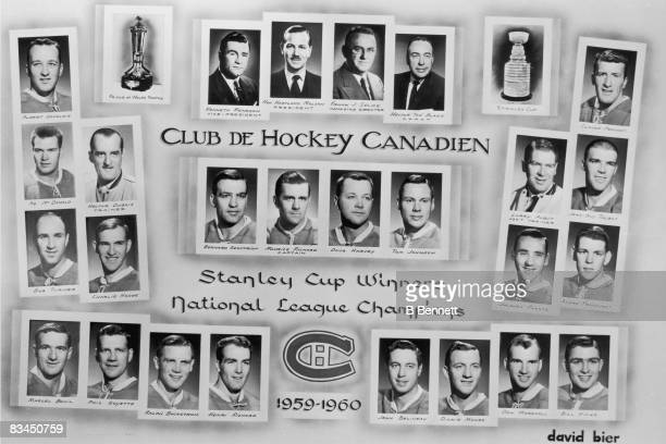 Promotional portraits of the 1959 1960 Stanley Cupwinning Montreal Canadiens organization from management to players along with the Prince of Wales...
