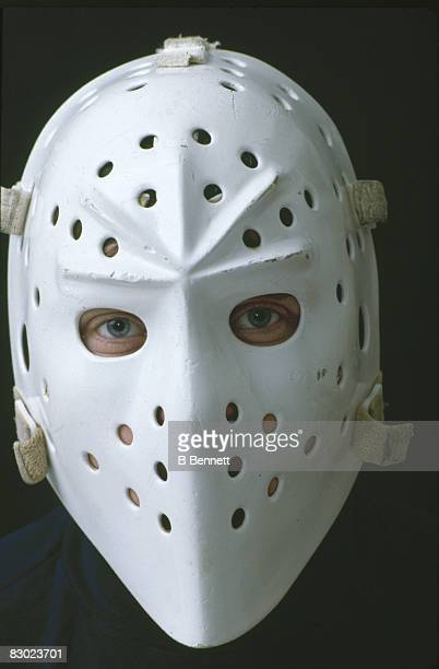 Promotional portriat of Swedish ice hockey player Pelle Lindbergh goalkeeper for the Philadelphia Flyers as he poses looks out from his mask early...