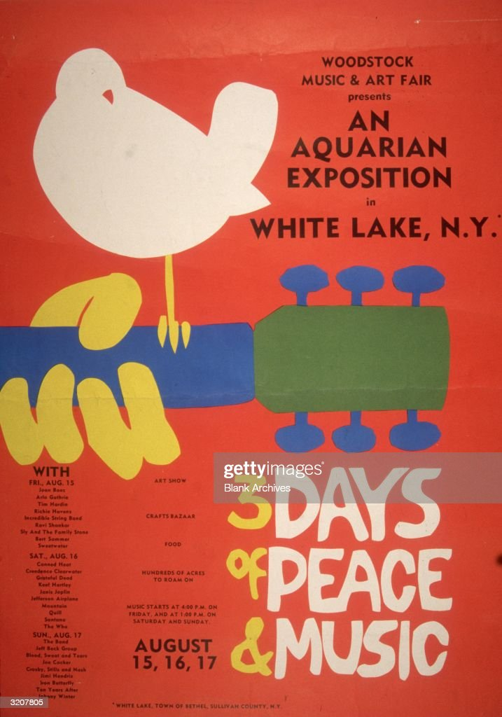 Promotional poster for the 1969 Woodstock Music and Arts Fair in Bethel, New York. A white dove sits on a guitar handle above the tagline, '3 DAYS of PEACE & MUSIC.' A schedule with the names of the performers, including Joan Baez, Grateful Dead, Janis Joplin, Jefferson Airplane and Jimi Hendrix appears on the bottom left hand side.