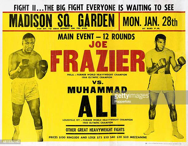 A promotional poster for the Joe Frazier versus Muhammad Ali World Heavyweight nontitle boxing match known as Super Fight II held at Madison Square...