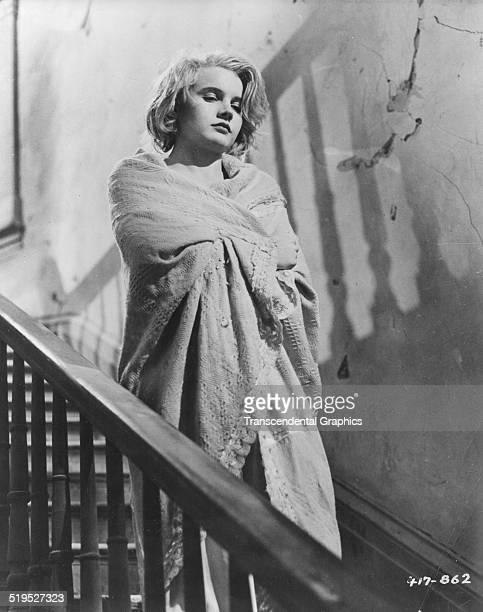 Promotional still features American actress Carroll Baker in a scene from the film 'Baby Doll' 1956