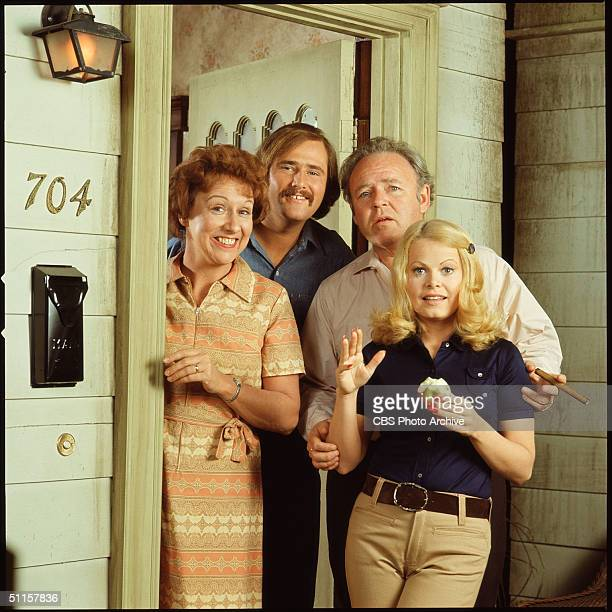 Promotional still shows the cast from the American television show 'All in the Family' Los Angeles California early 1970s They stand in the doorway...