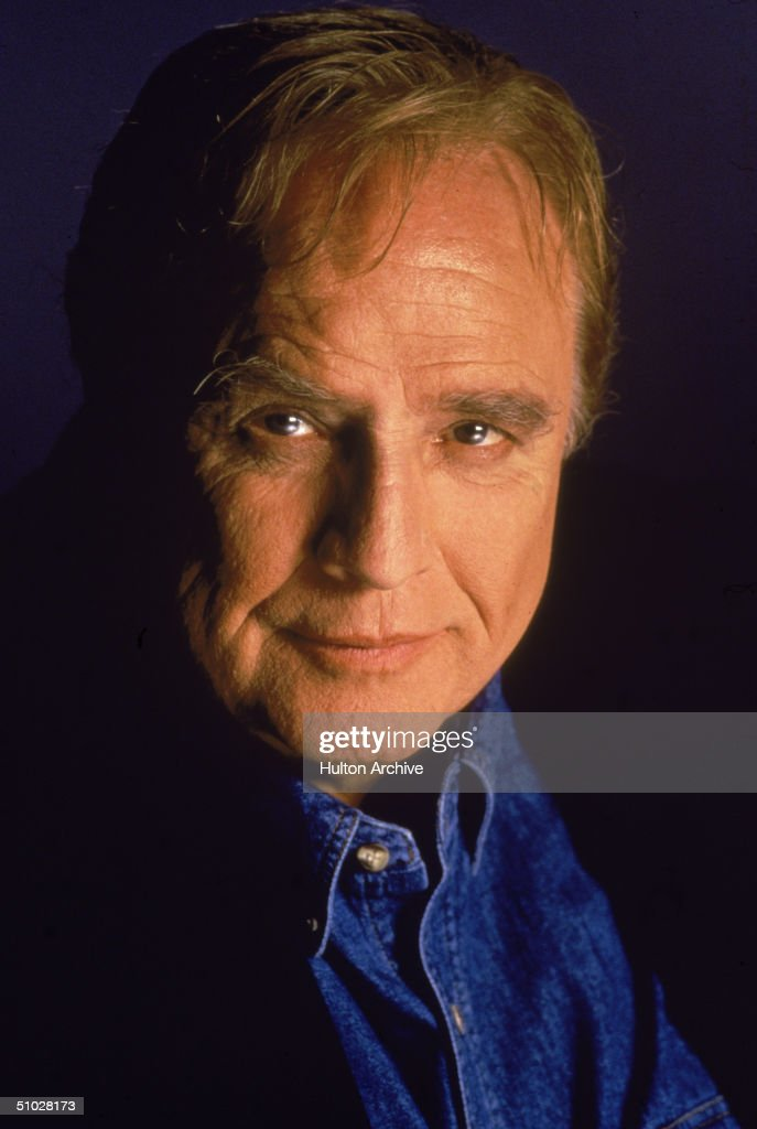 Promotional studio headshot portrait of American actor Marlon Brando (1924 - 2004) for the film, 'Don Juan DeMarco,' directed by Jeremy Leven, circa 1995.
