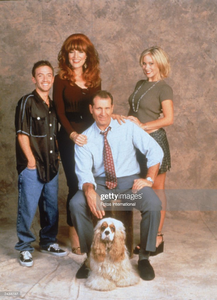 Promotional studio portrait of the 'Bundy family' cast of the television series, 'Married...With Children,' circa 1996. L-R: David Faustino, Katey Sagal, Ed O'Neill and Christina Applegate.