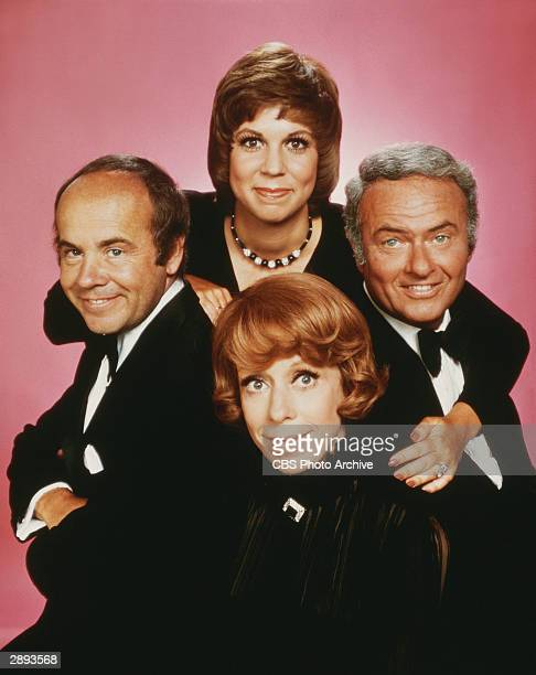 Promotional studio portrait of the cast of the television comedy variety series 'The Carol Burnett Show' Clockwise from top Vicki Lawrence Harvey...