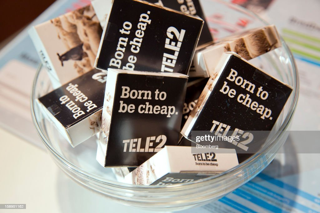 Promotional sweet packets sit on a counter inside a Tele2 AB store at the Farsta Centrum shopping center in Stockholm, Sweden, on Friday, Jan. 4, 2013. OAO Rostelecom's largest owner after the Russian state, Konstantin Malofeev, is urging the country's dominant fixed-line operator to buy the local unit of Sweden's Tele2 AB to form a fourth nationwide wireless carrier. Photographer: Casper Hedberg/Bloomberg via Getty Images