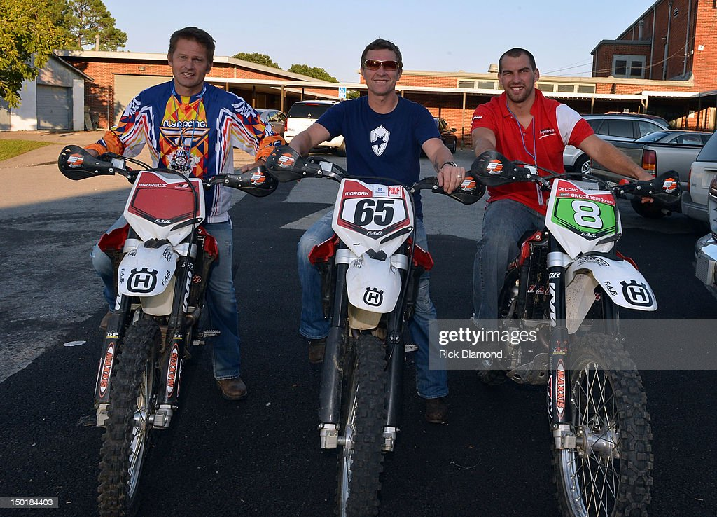 Pro-Motocross rider Brett Andrews, Host Singer/Songwriter <a gi-track='captionPersonalityLinkClicked' href=/galleries/search?phrase=Craig+Morgan&family=editorial&specificpeople=238953 ng-click='$event.stopPropagation()'>Craig Morgan</a> and Pro-Motocross Rider Andrew DeLong pose backstage during <a gi-track='captionPersonalityLinkClicked' href=/galleries/search?phrase=Craig+Morgan&family=editorial&specificpeople=238953 ng-click='$event.stopPropagation()'>Craig Morgan</a> 6th annual charity concert at Dickson Middle School on August 11, 2012 in Dickson, Tennessee.
