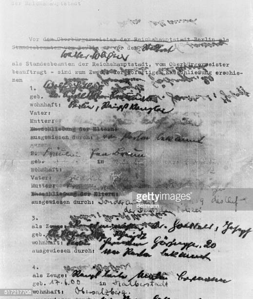 Proof of Hitler's Marriage to Eva Braun Nuernberg Germany This is the first page of the marriage document of Adolf Hitler and Eva Braun revealed in...