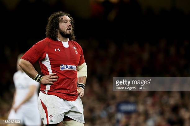 Prop Adam Jones of Wales lokks on during the RBS Six Nations match between Wales and England at Millennium Stadium on March 16 2013 in Cardiff Wales