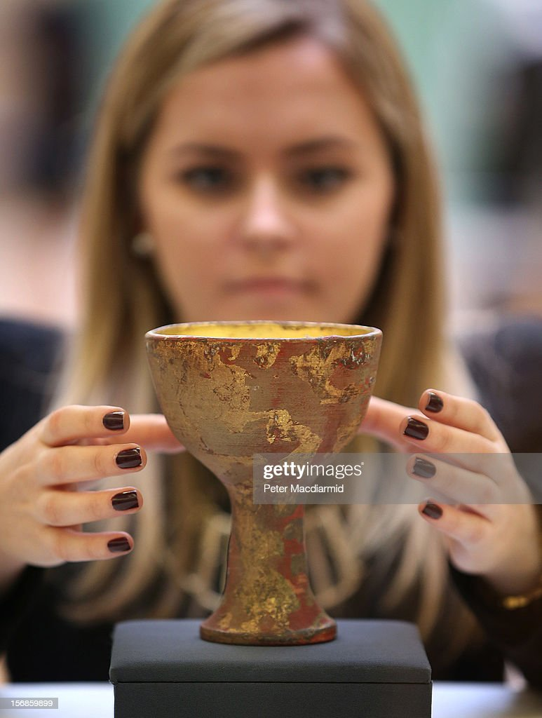A prop chalice from Indiana Jones And The Last Crusade is shown at Christie's on November 23, 2012 in London, England. Estimated at £2500 - £3500 it forms part of Christie's Pop Culture sale on November 29 in London.