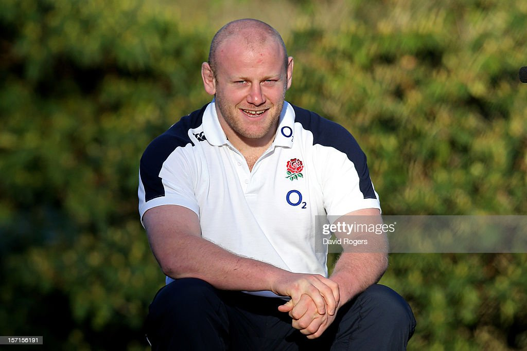Prop <a gi-track='captionPersonalityLinkClicked' href=/galleries/search?phrase=Dan+Cole&family=editorial&specificpeople=4166468 ng-click='$event.stopPropagation()'>Dan Cole</a> poses following the England training session at Pennyhill Park on November 29, 2012 in Bagshot, England.