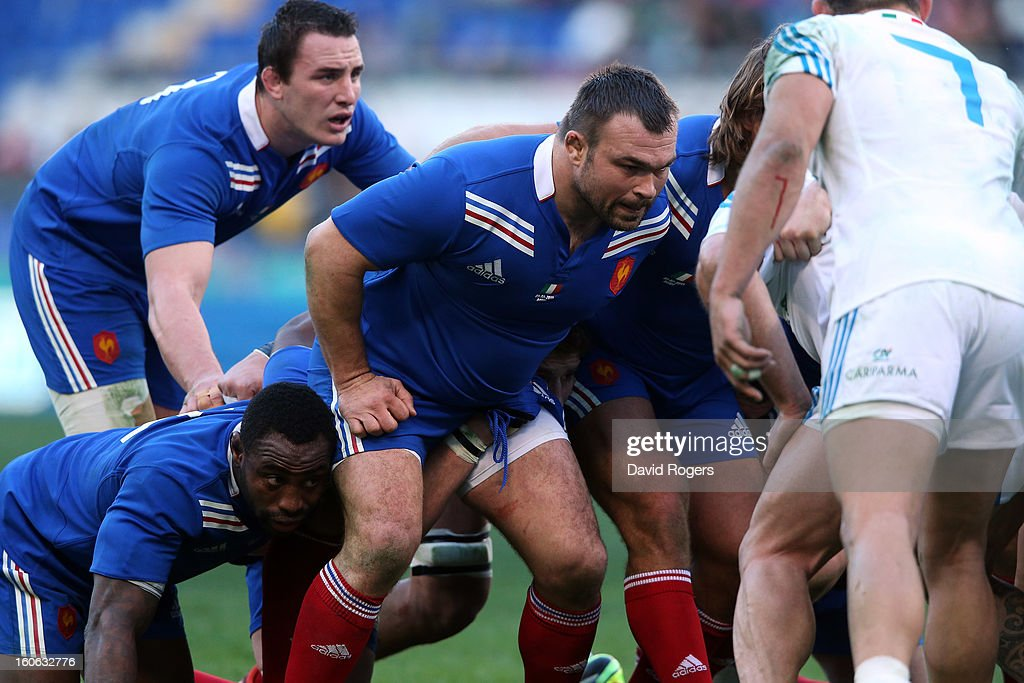Prop Nicolas Mas of France scrummages during the RBS Six Nations match between Italy and France at Stadio Olimpico on February 3, 2013 in Rome, Italy.