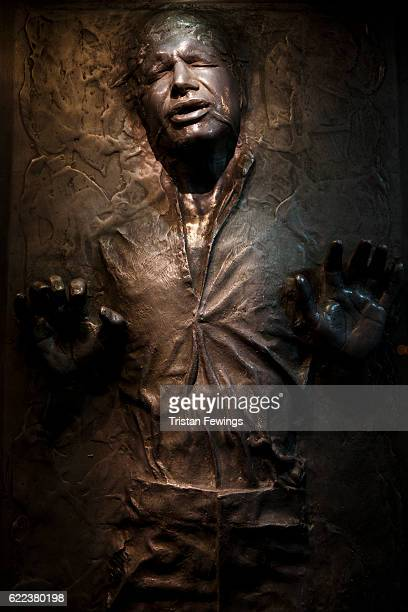 A prop of Han Solo in Carbonite is displayed at the Star Wars Identities exhibition at The O2 Arena on November 11 2016 in London England Star Wars...