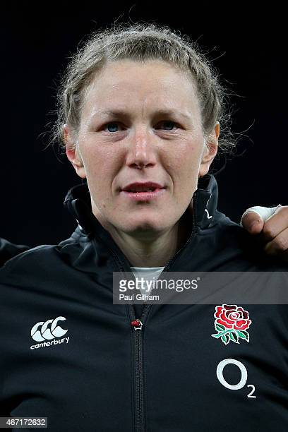 Prop Rochelle Clark lines up prior to winning her100th cap during the Women's Six Nations match between England and France at Twickenham Stadium on...