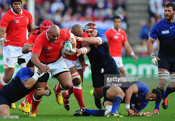 Prop Soane Tonga'uiha of Tonga charges upfield during the IRB 2011 Rugby World Cup Pool A match between France and Tonga at Wellington Regional...