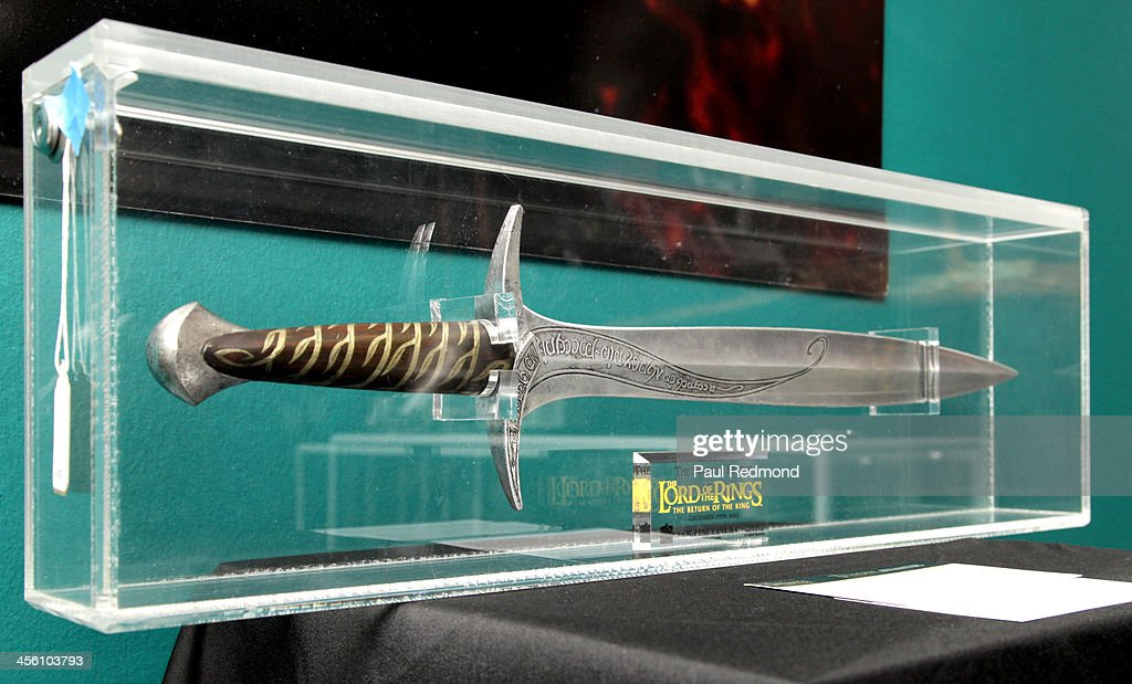 A prop sword used by actor <a gi-track='captionPersonalityLinkClicked' href=/galleries/search?phrase=Elijah+Wood&family=editorial&specificpeople=171364 ng-click='$event.stopPropagation()'>Elijah Wood</a> at Julien's Auctions present The Trilogy Collection: Props and Costumes from Middle Earth, Street Art Auction and Icons and Idols: Rock n' Roll Memorabilia at Julien's Gallery on December 2, 2013 in Beverly Hills, California.