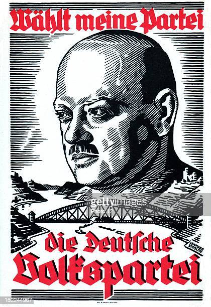 Propagand poster symbolizing the treaty between France and Germany by Stresemann to evacuate the Rhineland Germany Private Collection