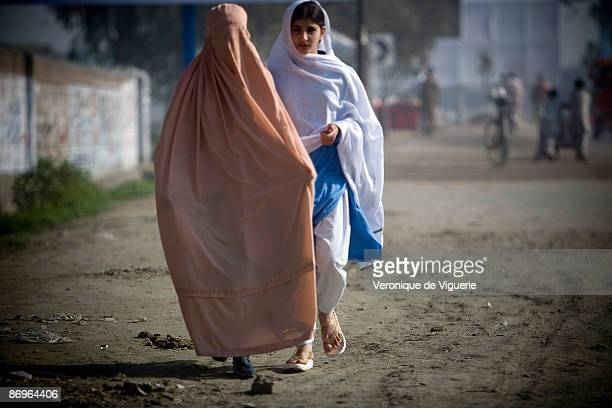 Propaganda leaflets were distributed by Taliban militants stating that women had to wear the burqa March 31 2009 in Mardan Swat Valley Pakistan